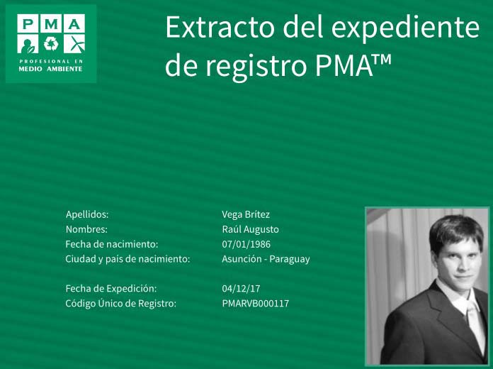 Ejemplo del extracto del expediente de Registro